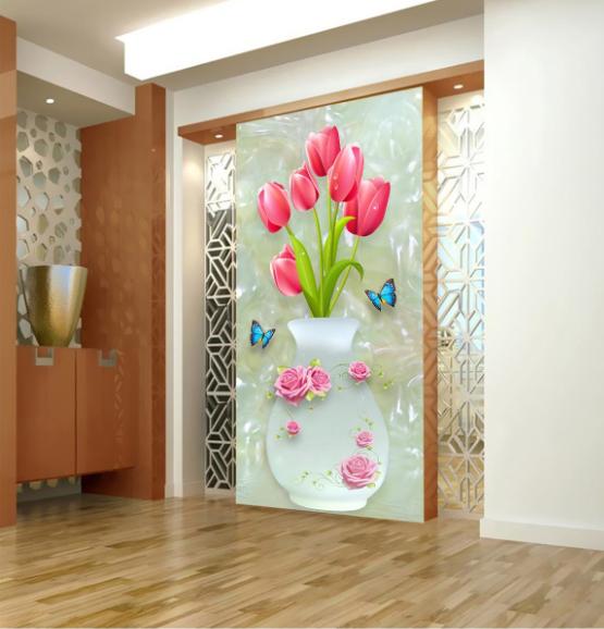 3D Butterflys Vase 75 Wall Paper Murals Wall Print Wall Wallpaper Mural AU Kyra