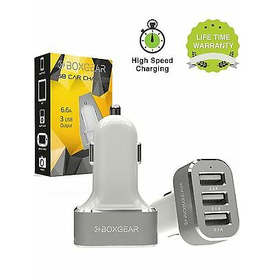 Boxgear 3 USB Port Car Charger, 6.6 Amp Rapid Charger Tri-Port USB Fast Charg...
