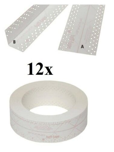 BOX 12x STRAIT-FLEX TUFF-TAPE Eckschiene Trockenbau Gipskarton Fugenband 30m