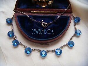 ART-DECO-Open-Back-Bezel-Set-Sapphire-Cut-Crystal-Vintage-DEMI-RIVIERE-NECKLACE