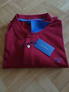 Gant Contrast Collar Pique Rugger Polo Shirt 3XL Poloshirt Wine Red Rot