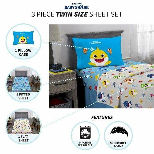 s Pinkfong Baby Shark 3-4Pc Microfiber Sheet Set Flat+Fitted Sheets+Pillowcase