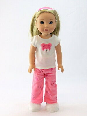 """Hot Pink Polka Dot Swimsuit For 14.5/"""" Wellie Wishers American Girl Doll Clothes"""