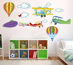 Coloré Avions Montgolfières énorme Wall Stickers Art Decal Nursery Garçon-afficher Le Titre D'origine Jsdrcemf-10104848-519987926