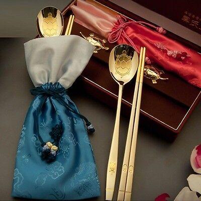 Korean Spoon & Chopsticks 2pcs set Luxury Turtle design Titanium 24K Gold-plated