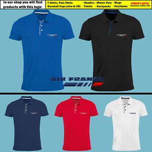 Mens-Air-France-Slim-Polo-Shirt-EMBROIDERED-Airplane-Logo-T-Shirt-Tee-Gift
