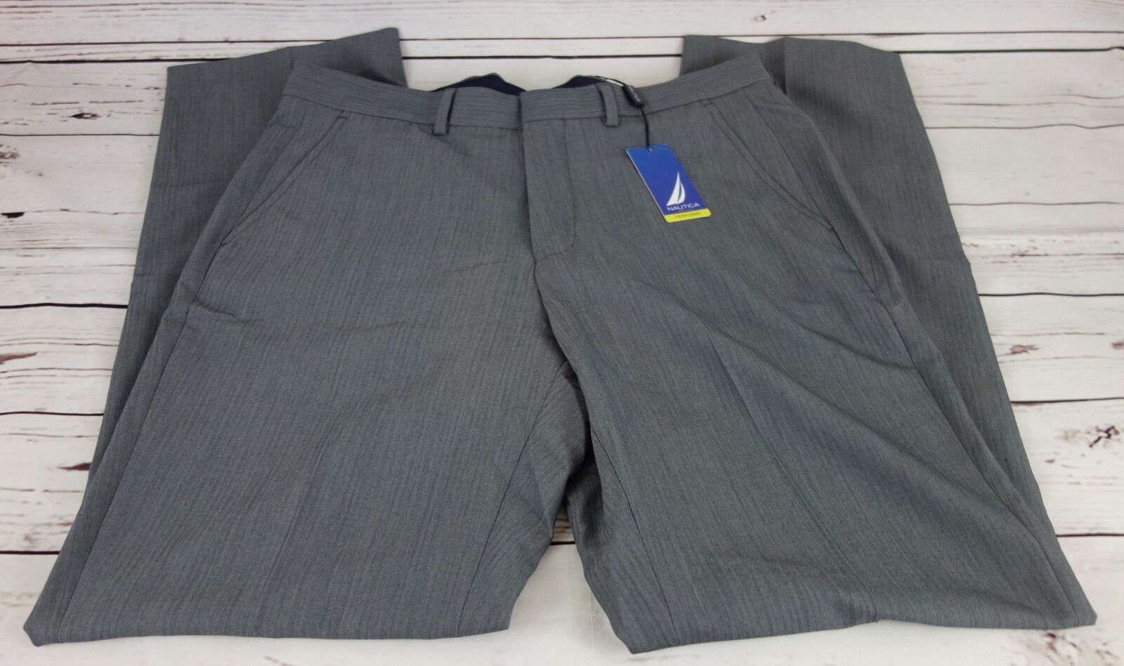 New Nautica Men's Classic Fit Stretch Pants Light Grey 34W x 32L MSRP