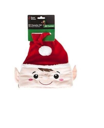 Elegante CAPPELLO di NATALE-ROSSA personaggio Elfo Cappello Con Pom Pom /& RICAMO pm5-red