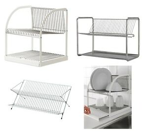 Details about Ikea Dish Drainer Rack Cutlery Plates Tray Drying Kitchen  Utensil,White & Silver