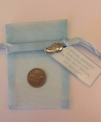 PERSONALISED LUCKY FIRST SIXPENCE 1st BIRTHDAY GIRL GOOD LUCK CHARM ELEPHANT   .