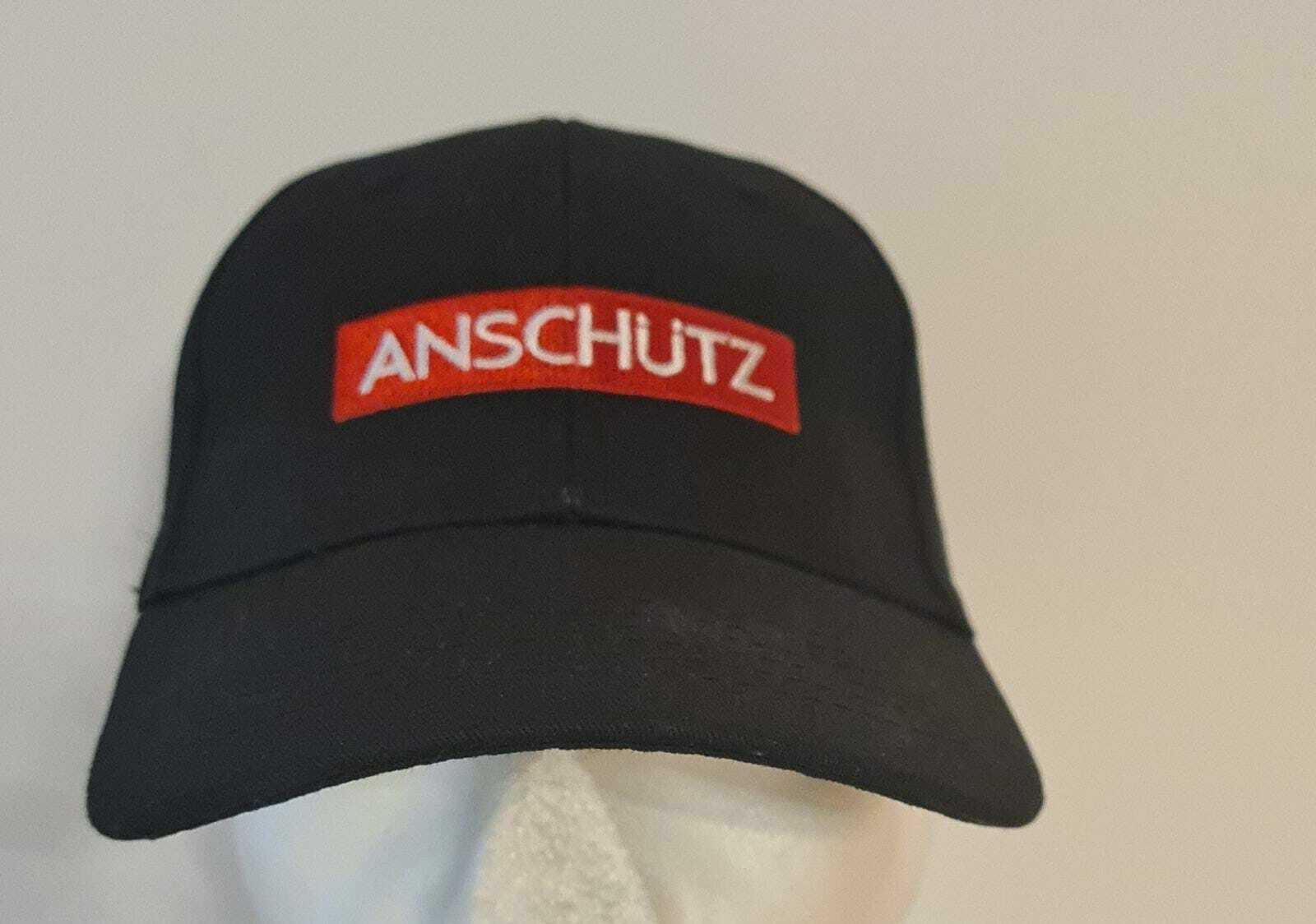001568 ANSCHÜTZ CAP Mütze Basecap Sport schwarz mit rotem Logo verstellbar NEU
