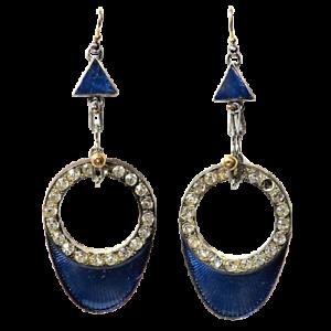 Art Deco Lapis Blue Drop Earrings
