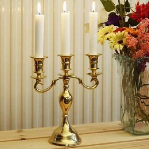 3 Arm Candle Holder Pall Mall Mall Mall Golden finished Candle Stand 597256