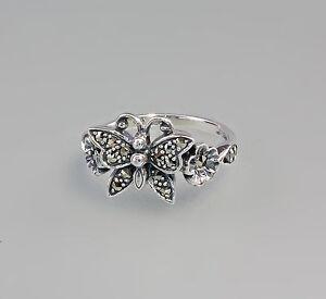 9903062 925er Silber Ring mit Markasiten und Schmetterling Gr. 52