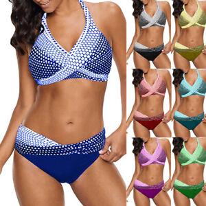 d3da35dba Women Polka Dots Bathing Suit Push-up Beach Swimsuit Bikini Swimwear ...