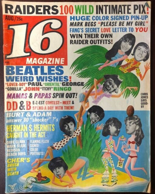 16 Teen Music Magazine August 1966 Beatles, Raiders, etc.