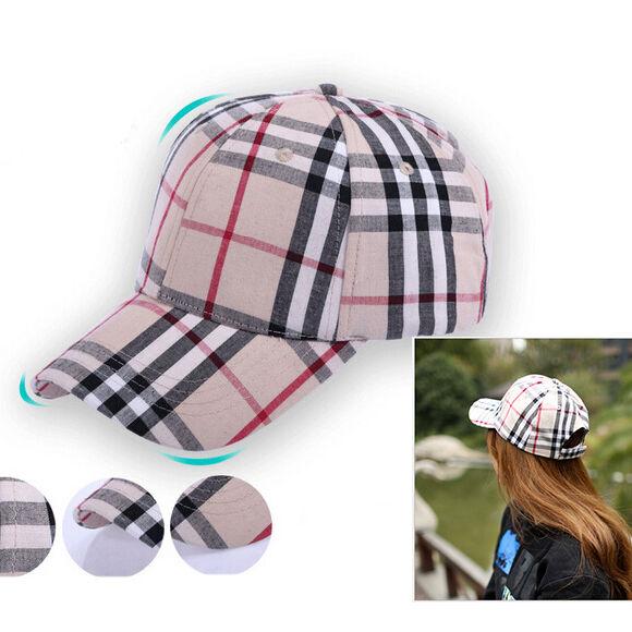 Men Women Sport Hip-Hop Sun Hat Plaid Baseball Cap Adjustable 57cm Snapback New