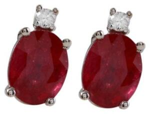 4-18ct-Natural-Red-Ruby-and-Diamond-14K-Solid-White-Gold-Earrings