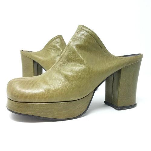 Vintage 60s 70s Platform Disco Heel Shoes Mules 7.