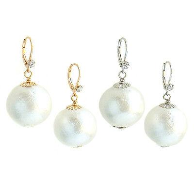 John Wind Earrings Cotton Ball Pearl Crystal Gold Silver Medium Maximal Art