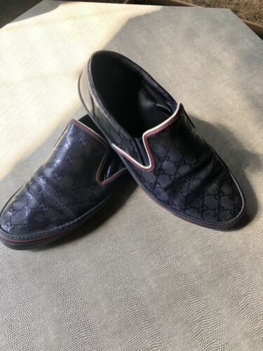 Gucci Men's Blue And Red Loafers