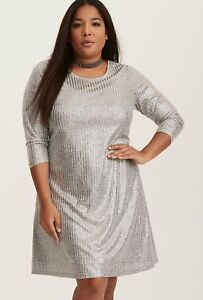 244b9e1375c Torrid Women s Plus Size 3 3X Silver Metallic Shimmer Ribbed Knit ...