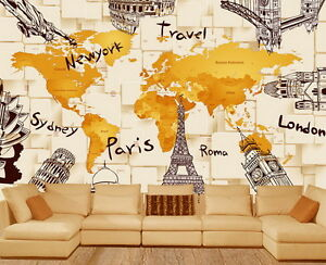 D Architecture World Map Wallpaper Wall Decals Wall Art Print Mural - World map wallpaper decal