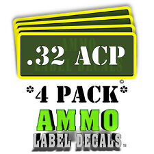 ".32 ACP Ammo Label Decals Ammunition Case 3"" x 1"" Can stickers 4 PACK -YWagRD"