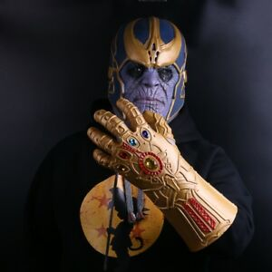 US SHIP Avengers Infinity War Thanos Mask Infinity Gauntlet Thanos Gloves Latex