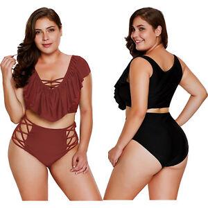 7c2333d11eca Detalles de Traje de baño cintura alta entrelazado con volantes burdeos  tankini bikini mujer