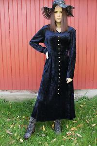 vtg midnight blue velvet mega button corset back witchy