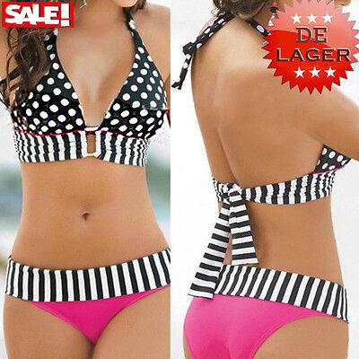 Retro Hohe Taille Charming Badeanzug Bandeau Bikini Push-Up Split Badeanzug