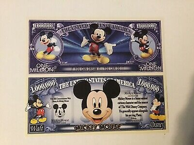 Disney Mickey Mouse and Donald Duck 2 Novelty Money Bills New