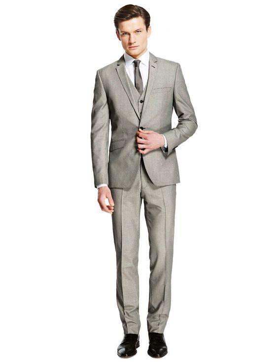 New M&S Ltd Collection Super Slim  Grau Puppytooth Suit Sz 40