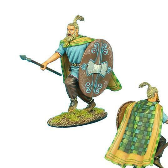 First Legion - ROM029 - German Warrior Charging with Spear & och Quilted Cape - Rom