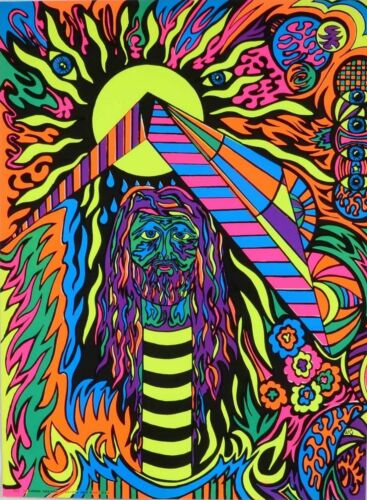 1970 Psychedelic NOS Jesus Christ SuperStar Black Light Poster Signed Head Shop