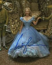 LILY JAMES Original Hand SIGNED 10X8 Photo Cinderella SEXY IMAGE AFTAL (F)