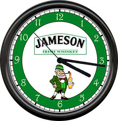 Jameson Irish Whiskey Leprechaun Tavern Bar Lounge Pub Green Sign Wall Clock
