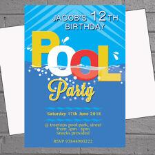 Item 2 Pool Party Invitations Swimming Kids Birthday Boys Or Girls X 12 Envs H1736