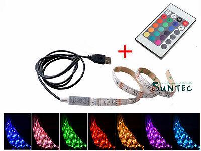 50-200CM USB LED RGB Strip Leiste mit Fernbedienung To PC Tab Notebook Laptop TV