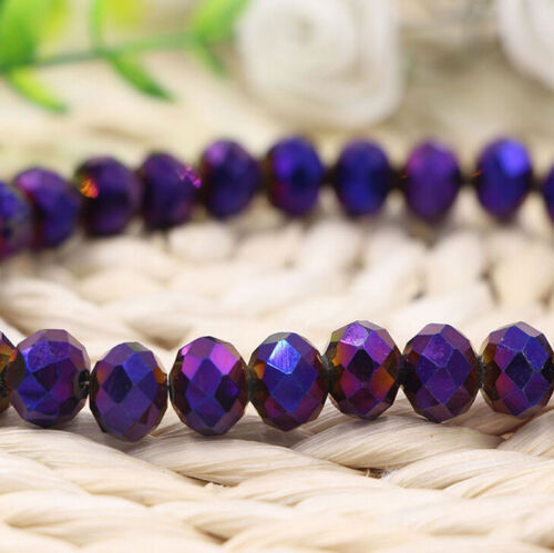 Metallic Rondelle Faceted Crystal Glass Loose Spacer Bead Finding 4//6//8//10mm DIY