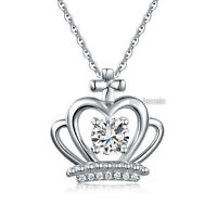 Crown Pendant Necklace Solid 925 Sterling Silver Jewelry Created Diamond Fn8058