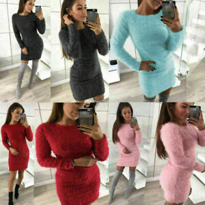 Womens-Winter-Long-Sleeve-Fluffy-Sweater-Top-Ladies-Bodycon-Mini-Jumper-Dress