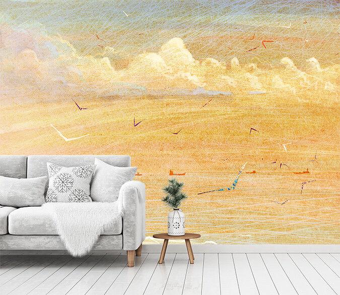 3D Möwe Strand Himmel Malerei 45 Tapete Wandgemälde Tapete Tapeten Familie Kinde