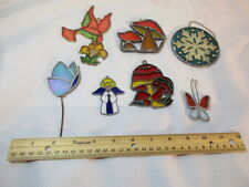 Vintage Suncatcher Lot of 7 Angel Butterfly Humming Bird Mushroom Sun Catcher
