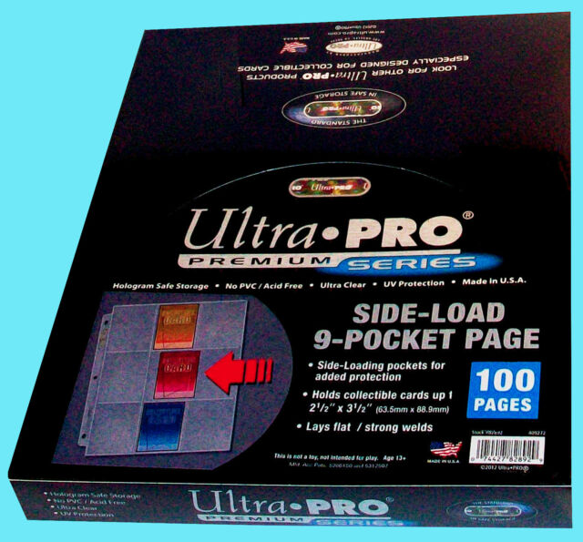 100 Ultra Pro 9 Pocket Side Load Premium Pages Binder
