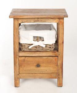 Détails Sur Table Chevet Meuble Tiroir Bois Panier Osier Style Rustique Vintage Marron Retro