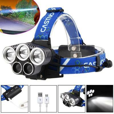 2X 18650 Battery+Charger GA X-XM-L T6 6X LED 80000 Lm USB Headlamp Headlight