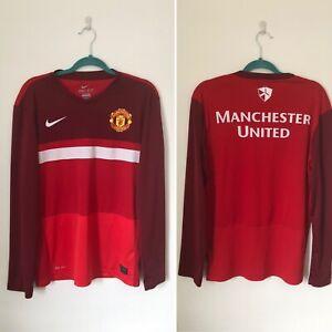 Taille-M-Manchester-United-Nike-Dri-Fit-Leger-A-Manches-Longues-Haut-d-039-entrainement-W1