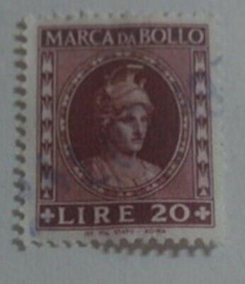 MARCA DA BOLLO LIRE 20 COLORE BRUNO | eBay